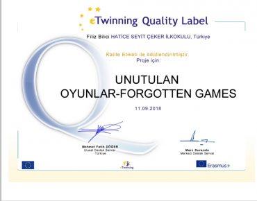 Projemiz kalite etiketi ile ödüllendirildi